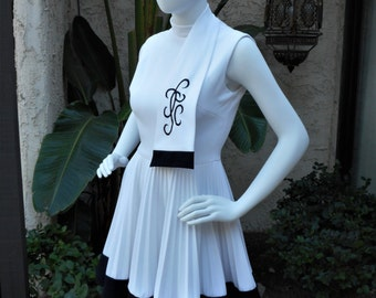 Vintage 1970's Black & White Dress with Pleated Skirt and Attached Scarf - Size 4