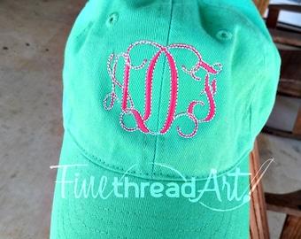 KIDS Monogram Baseball Cap Hat Fabric Strap Metal Buckle Youth Preppy Ball Cap Child Size Mint Hot Pink Navy