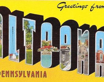 Large Letter POSTCARD / Vintage Linen ALTOONA Pennsylvania Large Letters Postcard Unused