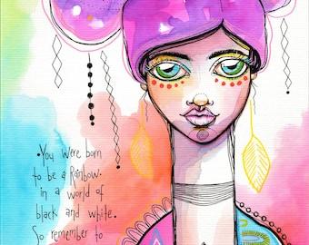 Born to be a Rainbow - Original Watercolor Abstract Bohemian Woman Goddess boho portrait Painting