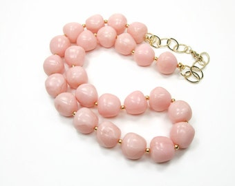 Light Blush Pink Beaded Necklace - Pink And Gold  Nugget - Nugget Statement Necklace - Wedding Jewelry Bridesmaid - Princess Collection