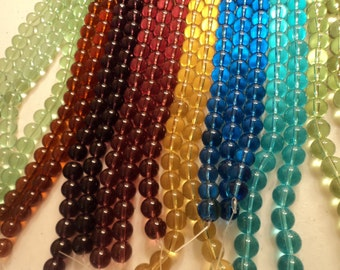 Glass Round Bead Mix - 10mm - 5 strands
