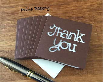 Brown Thank You Mini Note Cards with Envelopes 8
