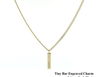 Tiny Stack & Layer Charm Necklace - Custom Made Personalized Engraved Charm on 2.1mm Thick Curb Chain - Sterling Silver Handmade in New York