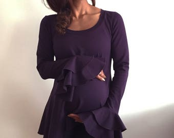 Flare Sleeve Maternity Top - Long Sleeve w Ruffles - Maternity shirt - Fashion Maternity Top -Comfortable Maternity Tee - Plum MaternityTop