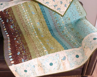 Cherish Nature Large Lap Quilt - Daisy, Butterfly, Dragonfly - Shades of chocolate brown, leaf green and aqua