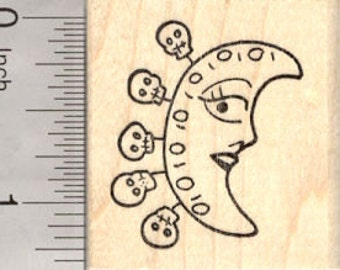 Day of the Dead Moon Rubber Stamp, with Skull Charms, Dia de Muertos D26612 Wood Mounted