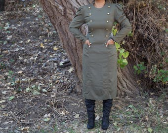 Vintage Olive & Gold Maxi Army Dress