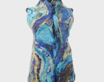 Nuno felt vest, Fiber art, Merino and silk vest, Wearable art, Colorful vest, Blue vest, Designers clothing, OOAK