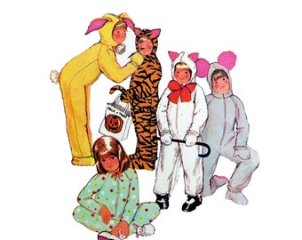 1972 McCall's 3355 Vintage Children's Halloween Animal Costumes with Detachable Headpiece, Uncut, Factory Folded, Sewing Pattern Size 6