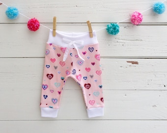 Valentine Baby Pants, Baby Girl Pants, Pink Heart Leggings, Valentine's Day Baby Clothes