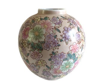 Chinese Porcelain Raised Floral Vase - Dusty Pinks and Blues - Handpainted Asian Vase