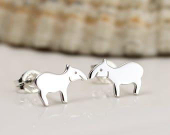 Tapir Earrings - Sterling Silver Tapir Stud Earrings - Tapir Gift