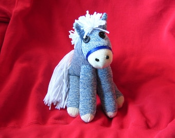 Sock Monkey Pony Horse - White Maned Blue - Heart Tattoo - Stuffed Animal Toy Plush Doll Rockford Red Heel - New