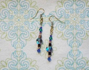 Rainbow quartz with blue & green crystal accents dangle earrings