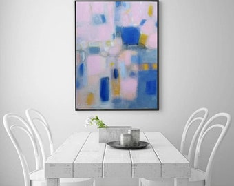 Blush pink navy blue modern abstract art, original Acrylic canvas abstract painting,XL giclee wall canvas prints,calming relaxing pastel art