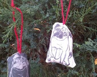 Tiny Pug Art Dolls Ornament Set - Fawn and Black Pugs