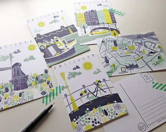 Amsterdam Postcards / Netherlands Postcard / Bike Postcards / House Boat Illustration / Windmill Illustration / Amsterdam Map / Houses Card