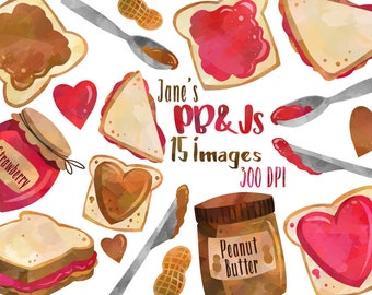 Watercolor Peanut Butter and Jelly Clipart - PB&J Download - Instant Download - Sandwich - Strawberry Jelly - Peanut Butter - Lunch