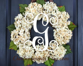 Hydrangea wreath- Ivory Hydrangeas/Antique White Hydrangea Wreath/ Spring wreaths for door//monogrammed hydrangea wreath/housewarming