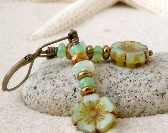 Jewelry - Green Earrings - Titanium - Bead Earrings - Dangle Earrings - Flower Earrings - Boho Earrings - Long Earrings - Bohemian Earrings