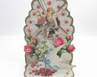 Vintage Antique Fold Out 3D German Valentine Card Cherub Angel Girl Dove Pink Roses Wedding Rings Gold Emobossed Germany