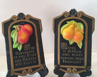 Chalk ware Fruit Plaques ~ Miller Studios ~ Apples Pears ~ Friendship Quotes ~ Kitchen Wall Decor ~ Shabby Chic  Chalkware~ Vintage