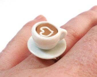 Love Tea Cup Coffee Cup Ring