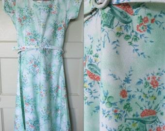 Vintage Dress, 60s, Dress, Vintage, Mandolin, Green Dress, 60s Dress, Cute Dress, Belt, Girls Dress, Size small