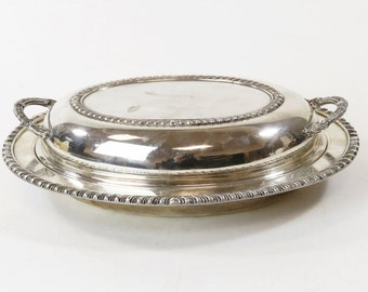 Silver-Plate Covered Serving Dish English Silver MFG Corp #202S Mid Century