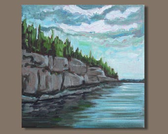 abstract painting, gestural, impressionist painting, small painting, nova scotia east coast, water, landscape, impressionism, gift for him