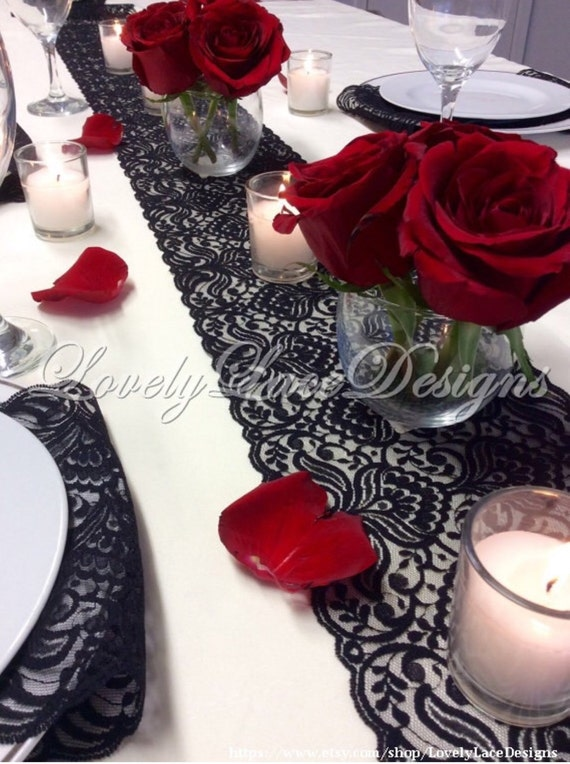 Black lace table runner 3ft 10ft x lace table for 10 foot table runner