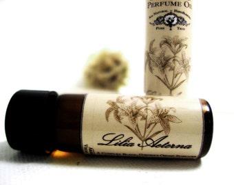 Botanical Perfume Oil. Lilia Aetena- Stargazer Lily, Copal, Amber & Sandalwood.  Natural Perfume. Organic Essential Oils.