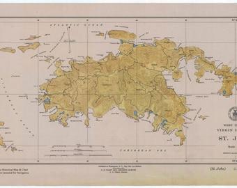 St. John Map (USVI) West Indies 1948