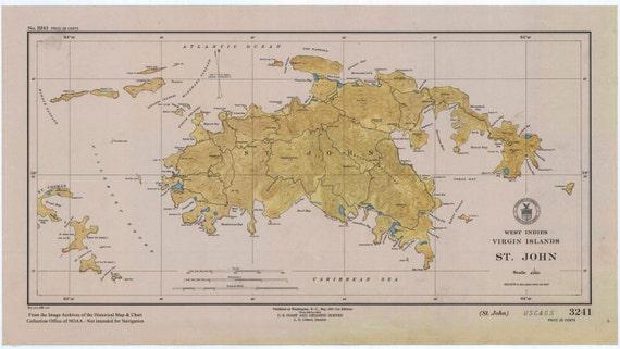 st john map usvi west indies 1948