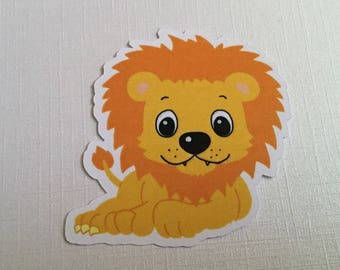 Embellishments cut drawing of Lion - yellow / Orange - right