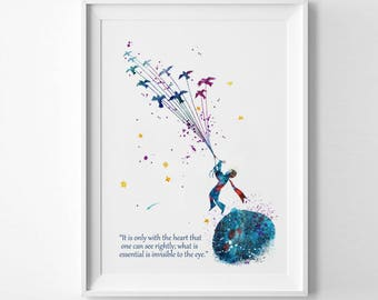 The Little Prince Quote Only With The Heart Watercolor Prints Le Petit Prince Nursery Kids poster Saint-Exupéry art Principito (Nº4)