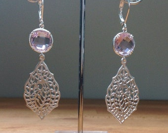 Matte silver and mauve leaf filigree earrings