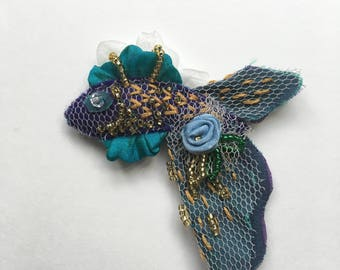 Embellished Rose Fish Brooch Blue