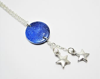 Long Galaxy Necklace, Galaxy Jewellery, Long Necklace With Pendant, Star Necklace, Boho Necklace, Star Charm Necklace, The Galaxy Collection