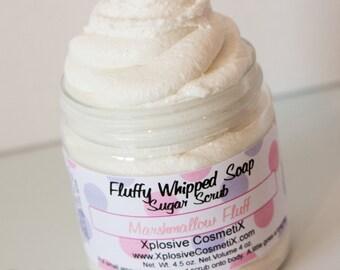 Fluffy Whipped Soap Sugar Scrub - Marshmallow Fluff - Sugar Scrub, Body Scrub, Body Wash, Vanilla Scent, 4 oz.
