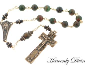 Handmade Irish Penal Bronze One-Decade Wire Wrapped Rosary