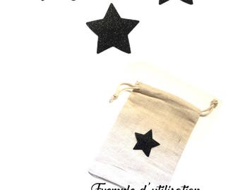 3 black iron-on stars (5 cm diameter) to iron to personalize, customize a garment or accessory.