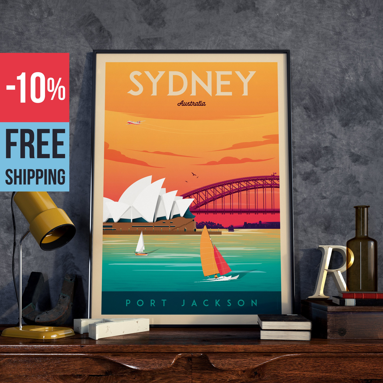 Sydney Australia Print - Sydney Vintage Travel Poster, vintage print ...