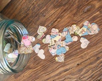 Vintage Map Heart Shaped Confetti, Map Hearts, Wedding Confetti, Military Confetti, Heart Shaped Confetti