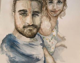 personalized watercolor portrait