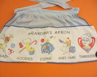 vintage grandma's apron tranquilizers funny