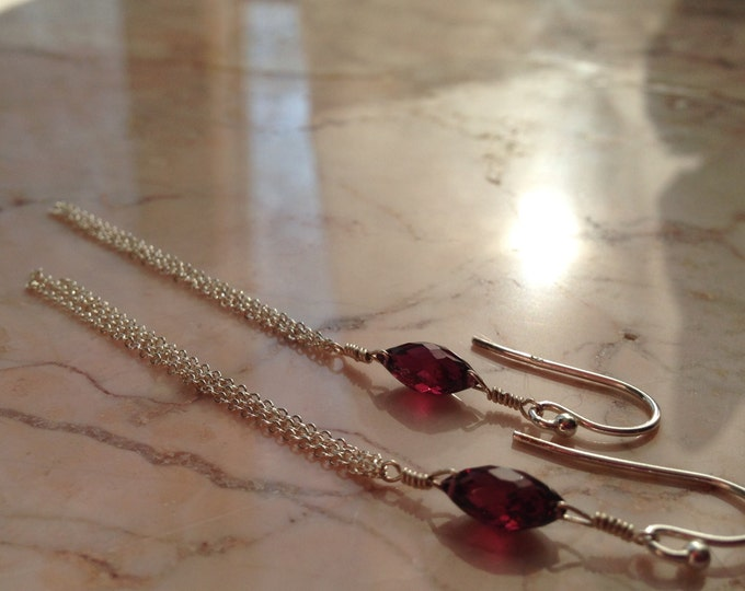 Handmade Stunning Garnet and Chain Earrings