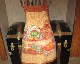 Butcher style apron with 70's colors and kitchen print full apron