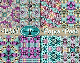 Mosaic Digital Paper Pack, 12 x 12 Kaleidoscope Background Paper Origami Digital Papers, Colorful Pattern Paper Purple Blue